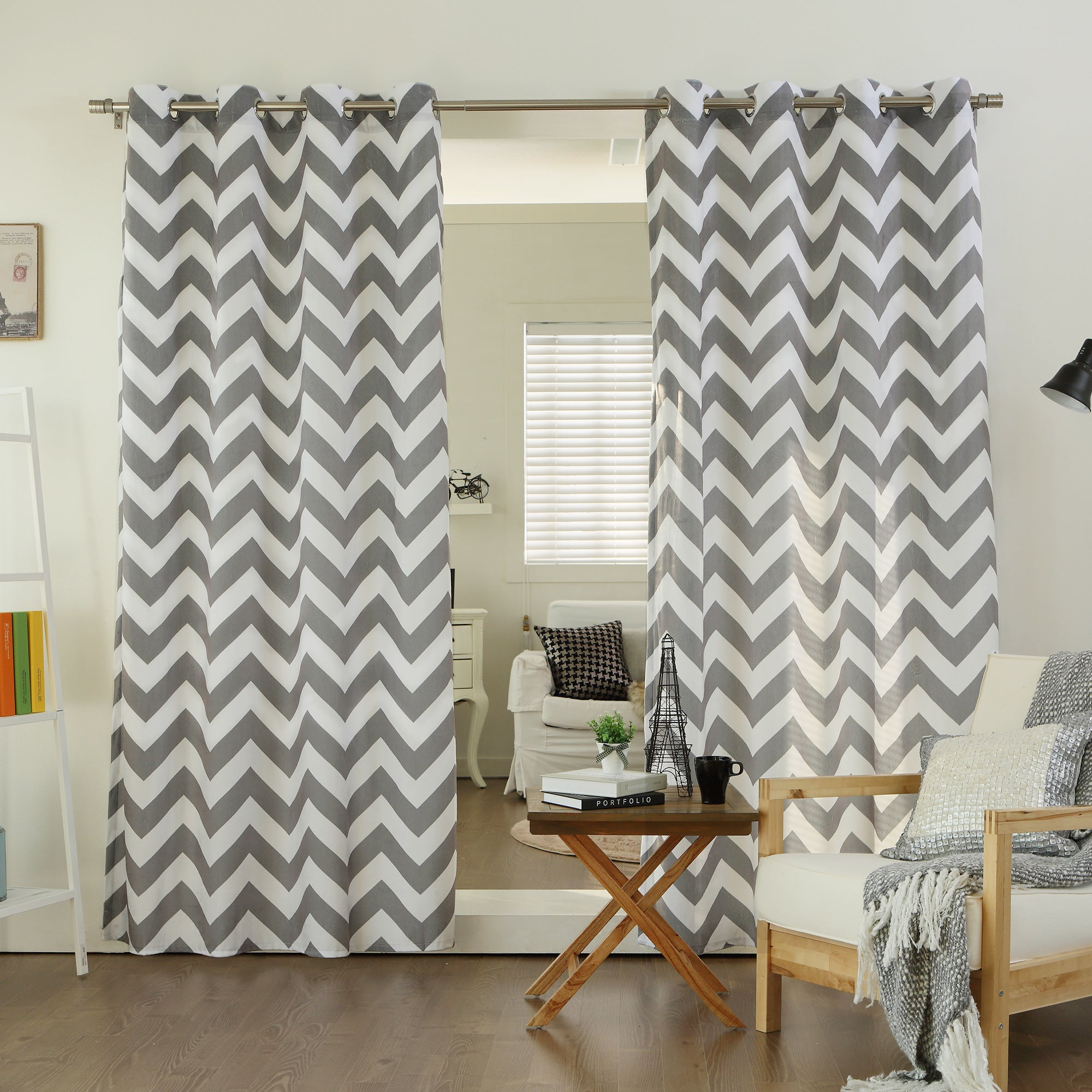 Velvet Chevron Print Grommet Top 84-inch Curtain Panel Pair