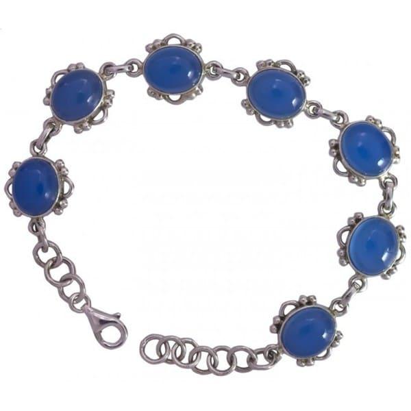 Sitara Handmade Sterling Silver Blue Chalcedony Bracelet (India)