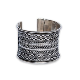 Handmade Textured Silverplated Cuff Bracelet (India)