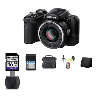 Fujifilm S8600 16MP Black Digital Camera and 16GB SD Card Bundle