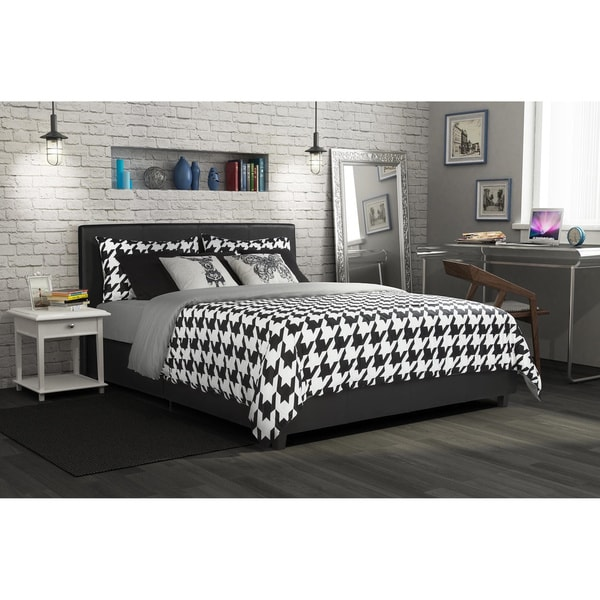 DHP Maddie Black Faux Leather Upholstered Bed