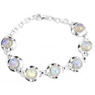 Sitara Handmade Sterling Silver Rainbow Moonstone Bracelet (India)