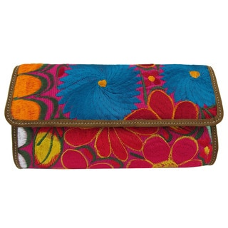 Cotton and Leather Wild Blossom Embroidered Clutch (Guatelmala)