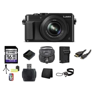 Panasonic Lumix DMC-LX100 12.8MP Black Digital Camera and 16GB SD Card Bundle