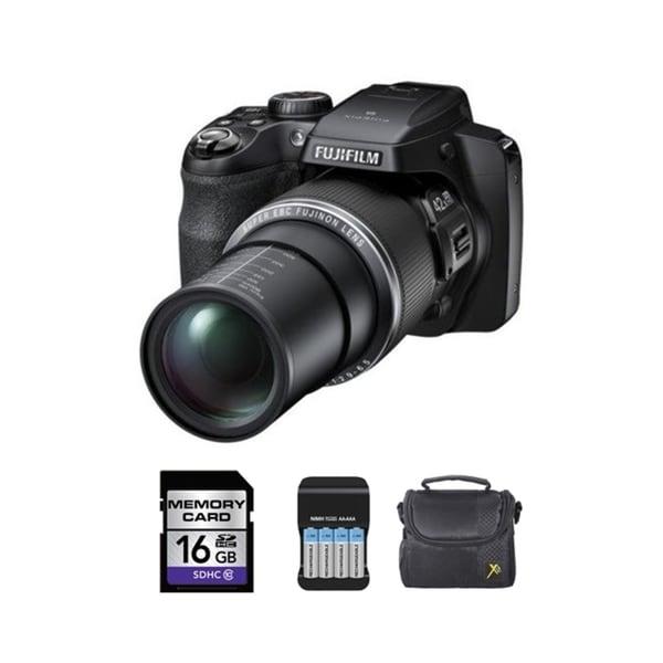 Fujifilm S8300 16MP Black Digital Camera and 16GB SD Card Bundle