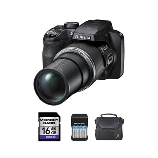 Fujifilm S8300 16MP Black Digital Camera and 16GB SD Card Bundle