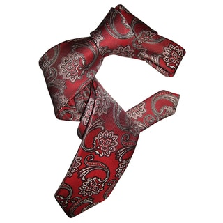 Dmitry Men's Red Patterned Italian Silk Tie