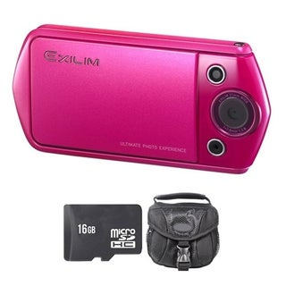 Casio Exilim EX-TR15 Pink Digital Camera and 16GB SD Card Bundle