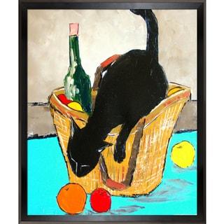 Atelier De Jiel Return from market with black cat Framed Fine Art Print