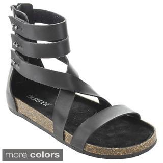 Bumper Women's 'Taja-03' Back Zipper Cork Gladiator Sandals