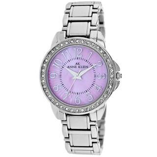 Anne Klein Women's 10-9661PMSV Classic Round Silver Bracelet Watch