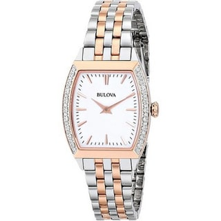 Bulova Women's 98R200 Analog Quartz Diamond Gallery Stainless Steel Two-tone Watch
