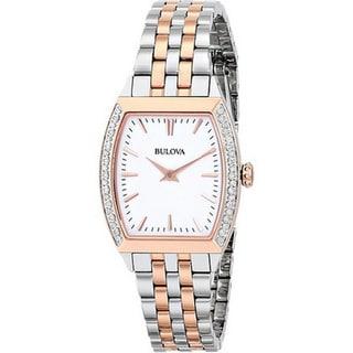 Bulova Women's 98R200 Analog Quartz Diamond Gallery Stainless Steel Two-tone Watch