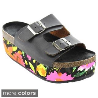 Bumper Women's 'Tory-05' Platform Slip-on Sandals