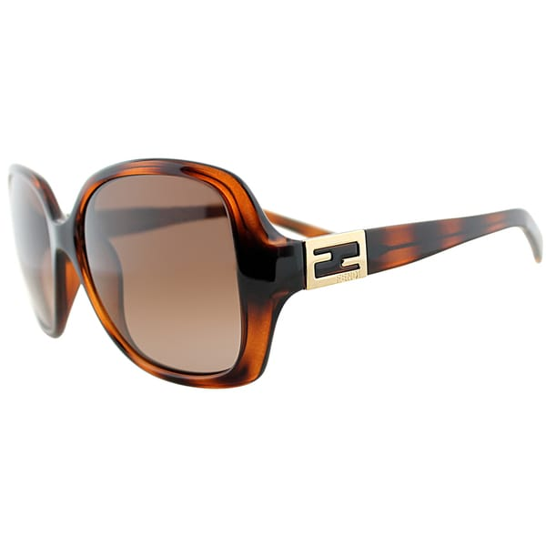 Fendi Womens FS 5227 238 Havana Rectangle Sunglasses