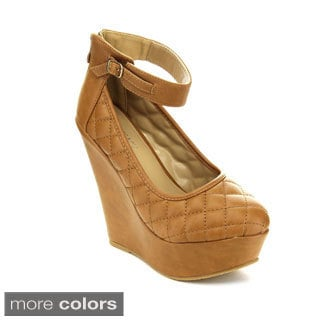 Women's 'TRENDY-61' Ankle Strap Quilted Wedge Pumps