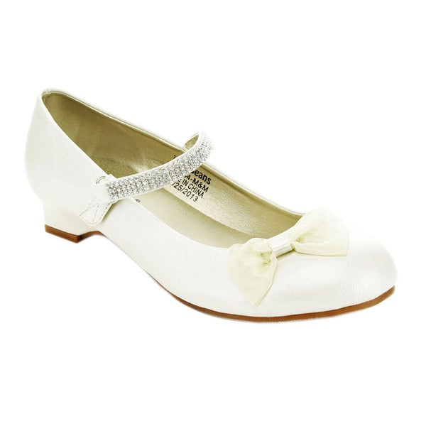 Jelly Beans Girls' 'LUCY' Kitty Heel Bow-Tie Mary Jane Flats
