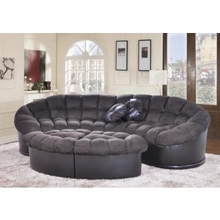 Diana 4-piece Dark Green Papasan Modern Microfiber Sofa and Ottoman Set