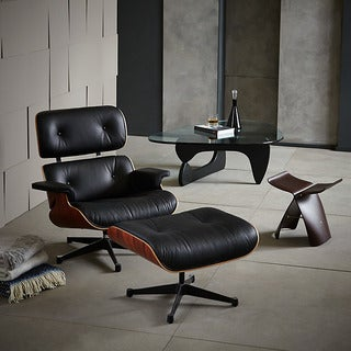 Windsor Top Grain Italian Leather Black/ Rosewood Lounge Chair and Ottoman