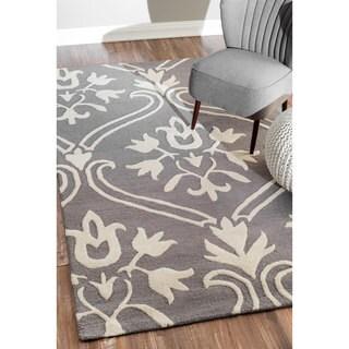 nuLOOM Handmade Modern Wool Grey Rug (8'6 x 11'6)
