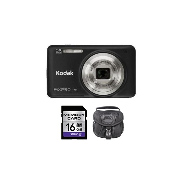 Kodak PIXPRO FZ51 16MP Black Digital Camera 16GB Bundle