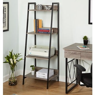 Simple Living Seneca Black Metal and Grey 4-tier Shelf