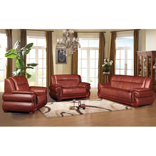 Harper Dark Auburn Transitional Bonded Leather Sofa Set
