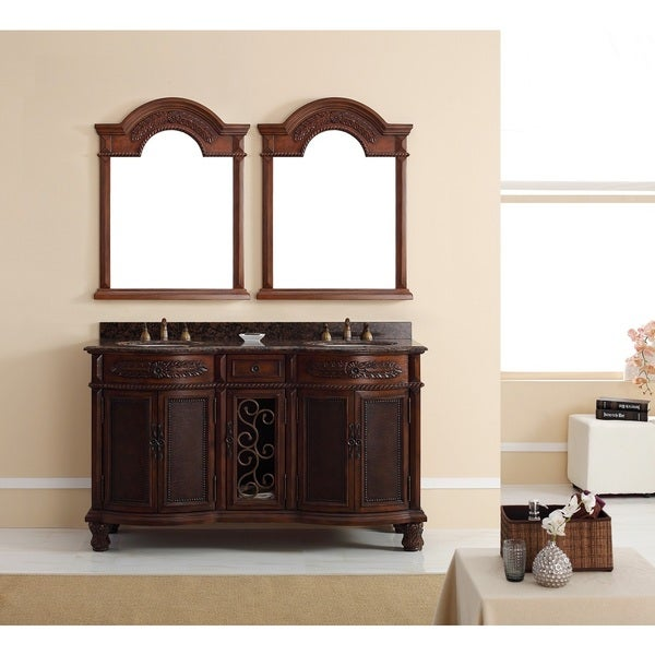 Venetian 60-inch Double Vanity, Brown Cherry