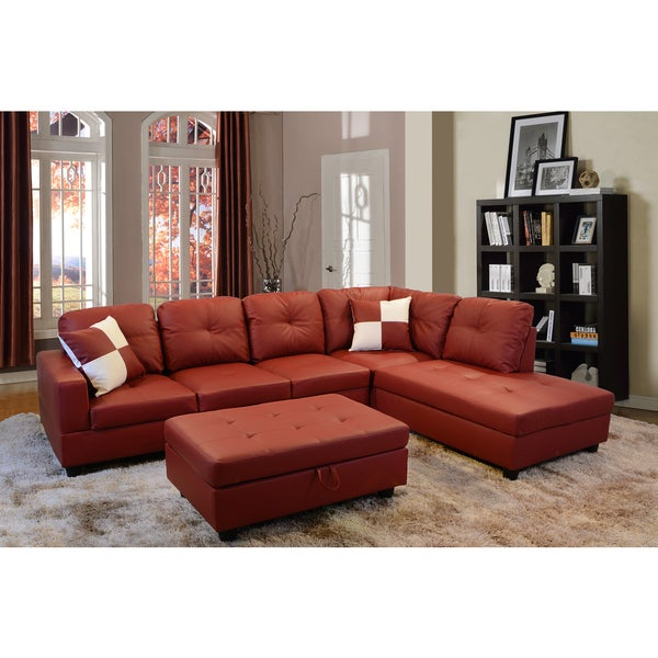 Delma 3 piece red faux leather right chaise sectional set for 3 piece leather sectional sofa with chaise