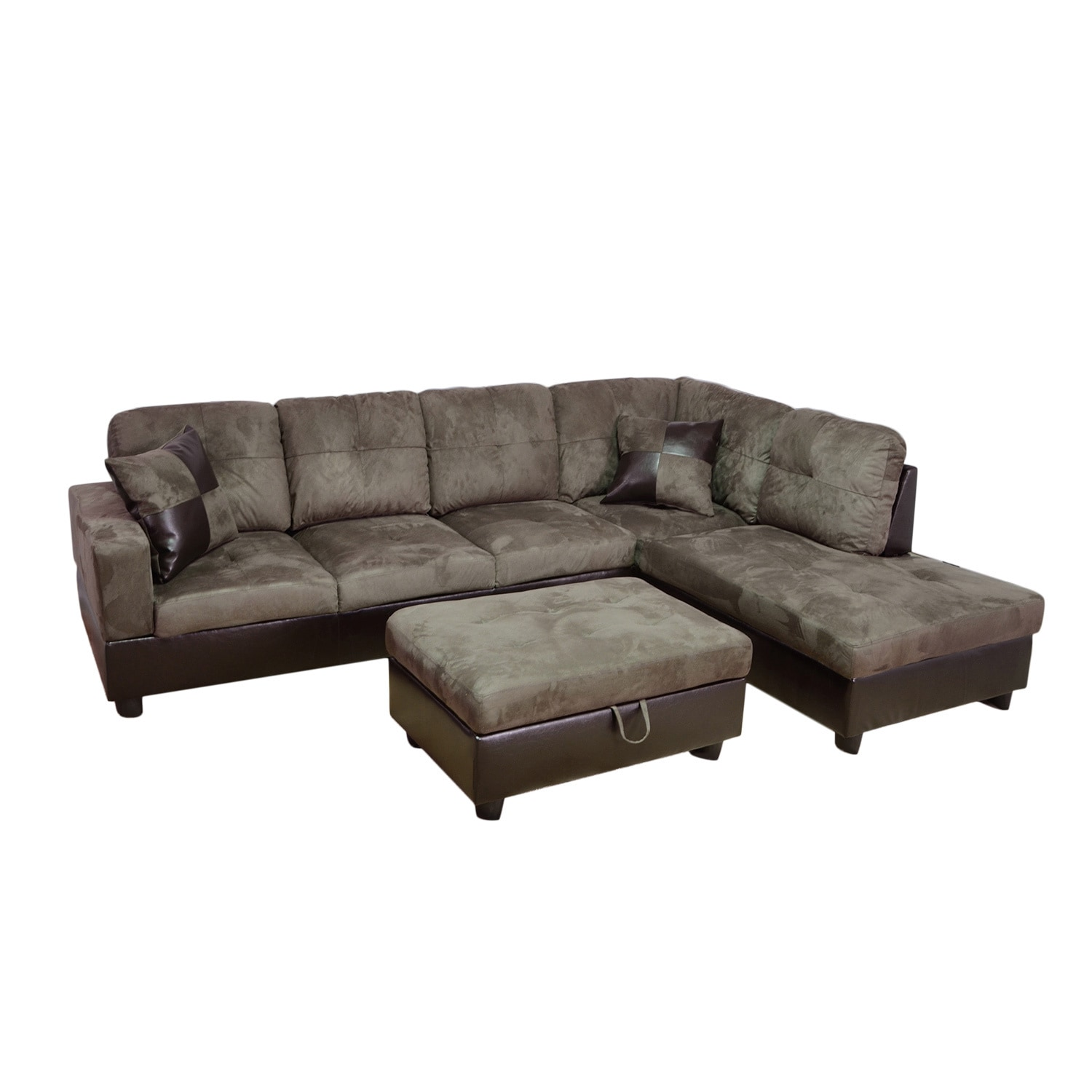 piece grey microsuede right chaise sectional set with storage ottoman