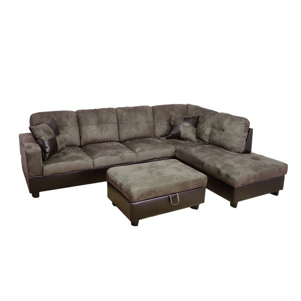 Delima 3 piece grey microsuede right chaise sectional set for Grey microsuede sectional sofa