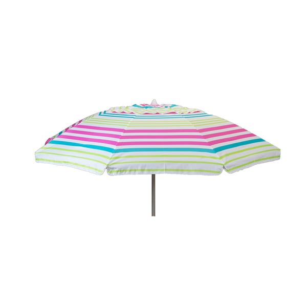 7 -foot Pink Stripe Beach Umbrella with Travel Bag