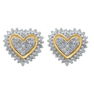 Sterling Silver 1/5ct TDW Diamond Pave Heart Stud Earrings (H-I, I2-I3)
