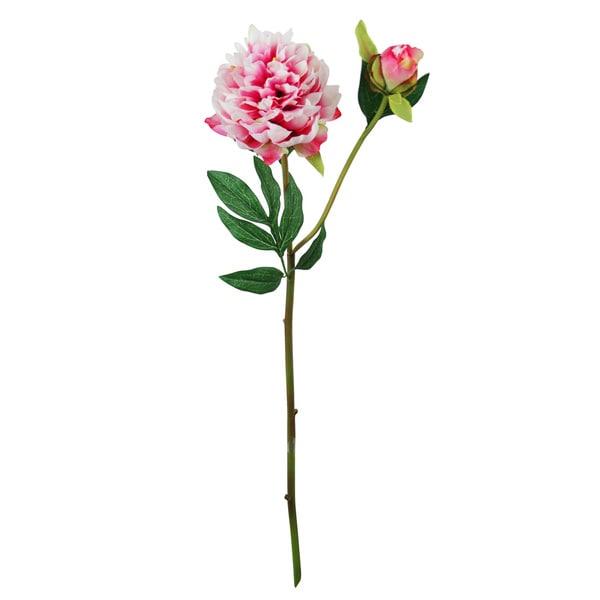 Pink 27-inch Peony Silk Flower Stems (Set of 12)