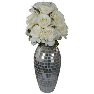 Coco Mari White Open Roses in a Mosaic Vase Silk Floral Arrangement