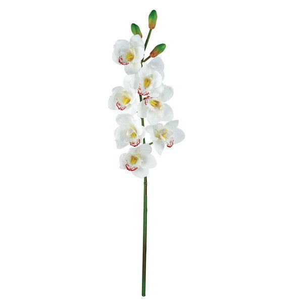 White 31-inch Cymbidium Orchid Silk Flower Stems (Set of 12)