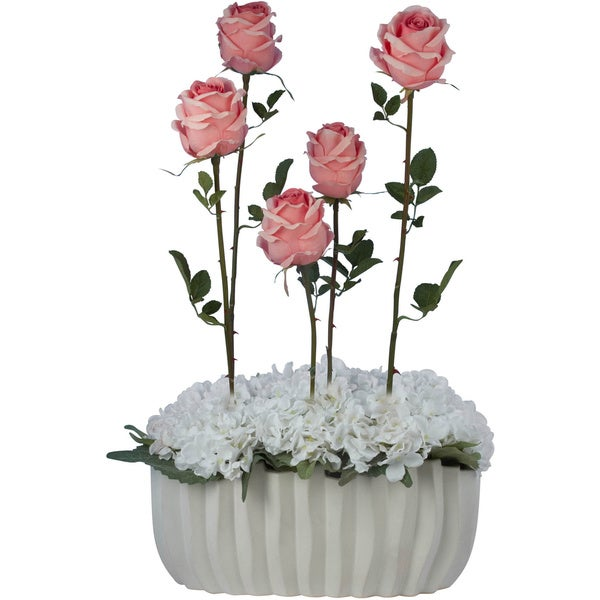 Francisque Faux Floral Arrangement with Pink Roses with White Hydrangeas in White Vase
