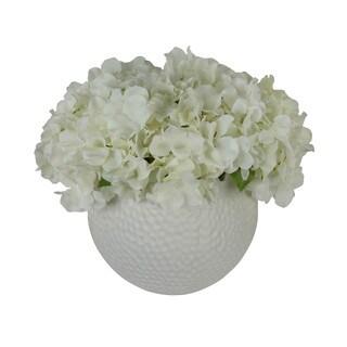 Genvieve Silk Floral Arrangement with White Hydrangeas in a White Vase
