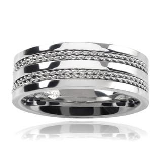 Vance Co Stainless Steel Men's 8mm Rope Accent Band
