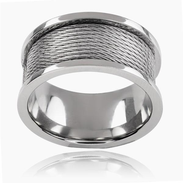 Vance Co Stainless Steel Men's 11mm Rope Band