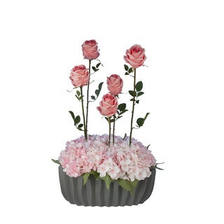 Francisque Faux Floral Arrangement with Pink Roses with Hydrangeas in Grey Vase