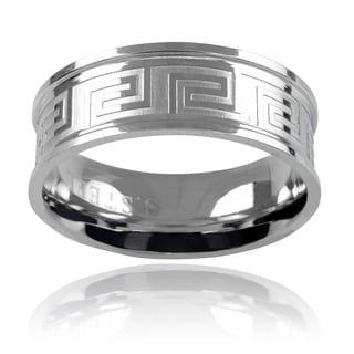 Vance Co Stainless Steel Men's 8mm Greek Key Band