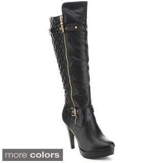 Forever Women's 'DELLA-56' Quilted Platform Knee High Boots