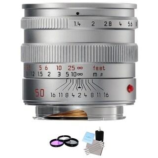 Leica Normal 50mm f/1.4 Summilux M Aspherical Lens Silver Bundle