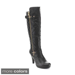 Forever Women's 'CECI-13' Asymmetry Ankle Strap Knee High Quilt Boots