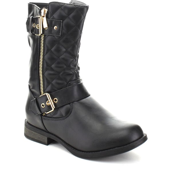 Forever 'SEVILLA-19' Women's Buckle Strap Mid Calf Quilt Boots