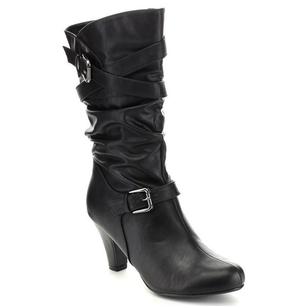 City Classified Women's 'Trona' Buckle Strap Slouchy Mid-calf Boots