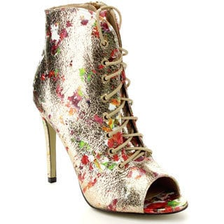 Eye Candie Timeless-020 Women's Floral Peep Toe Lace-Up Stiletto Heels