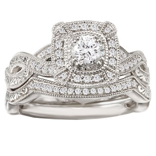 Avanti 14k White Gold 1/2ct TDW Diamond Halo Vintage Bridal Ring Set (G-H, SI1-SI2)