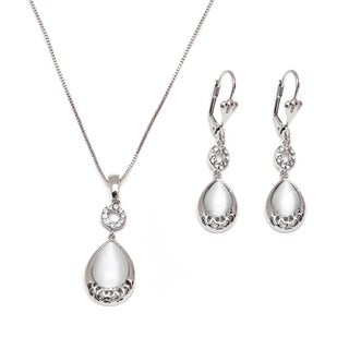 Rhodium-plated Silver and Crystal Elements Circle and Teardrop Earrings and Necklace Set